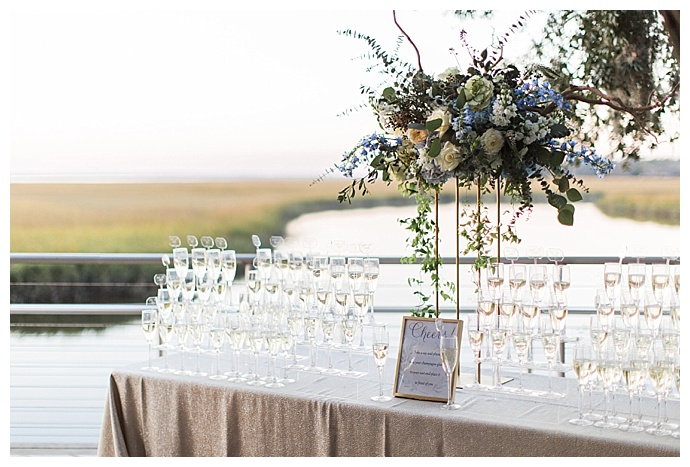 champagne glass escort cards
