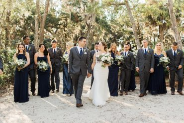 navy and gray wedding party attire