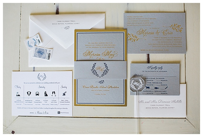 gray and gold wedding invitation suite