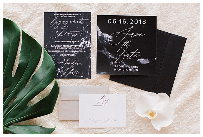 marble engagement party stationery