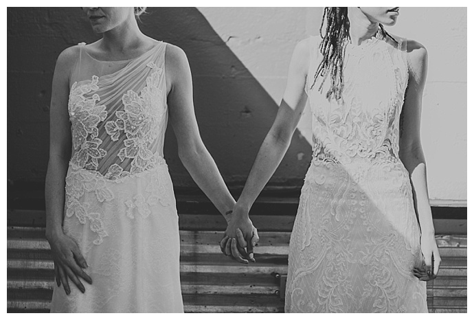 complementary lesbian wedding dresses