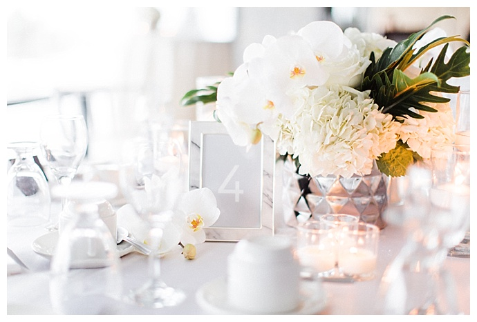 modern white wedding table decor