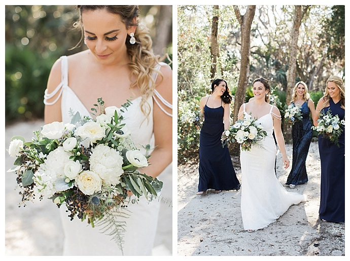 navy mismatched bridesmaids