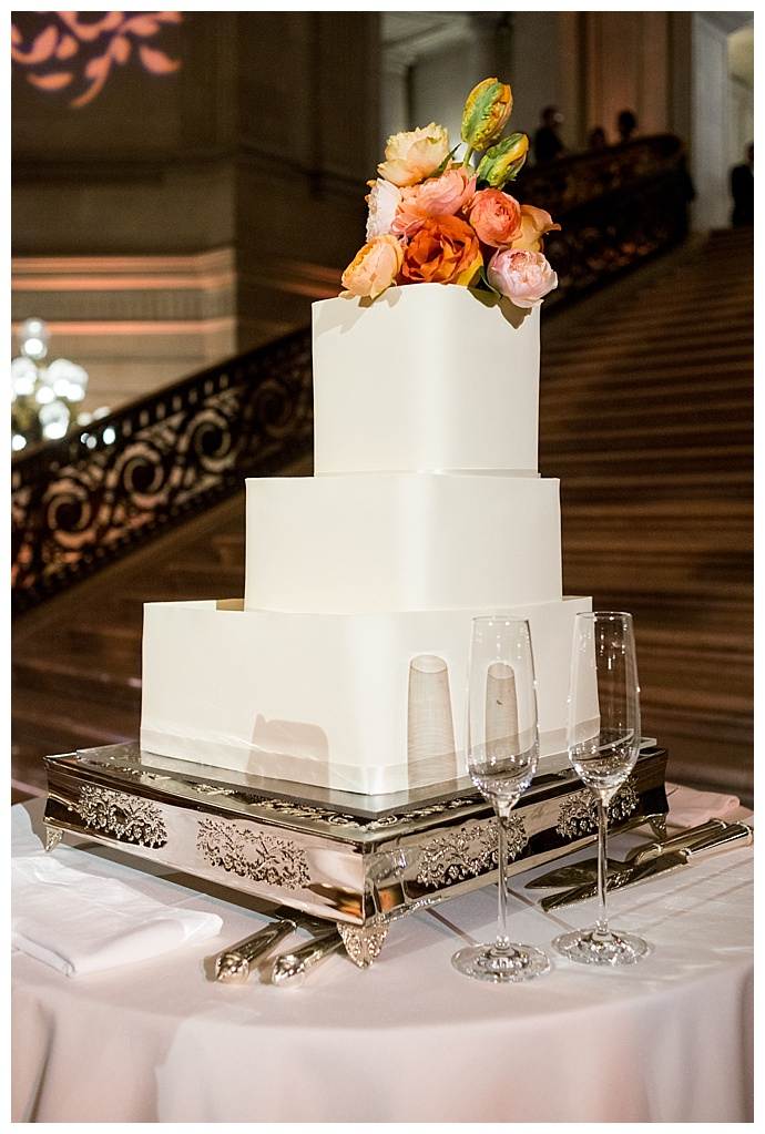 square tiered wedding cake