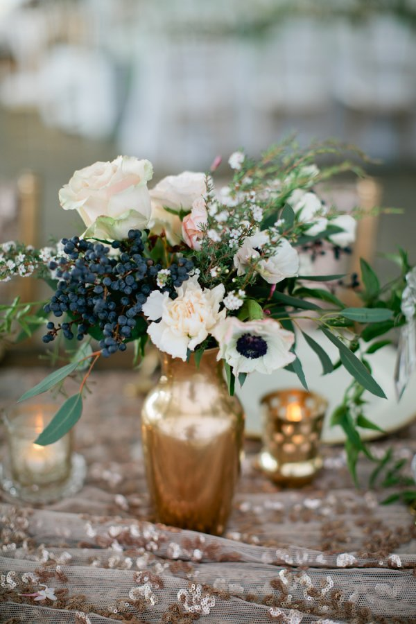 anemone and berry centerpiece