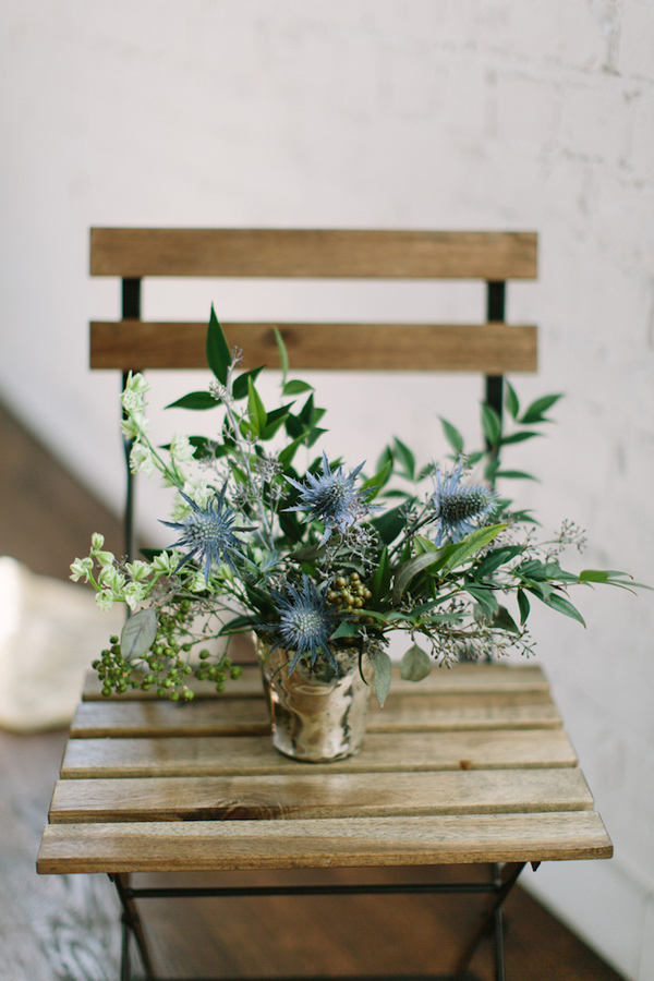 blue thistle floral arrangement