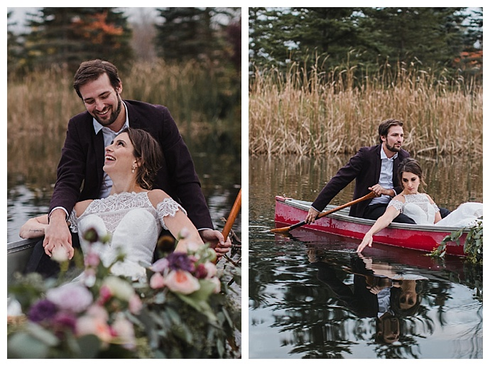 wedding portraits in a canoe