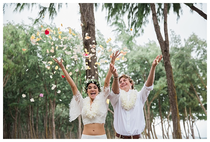 flower petal toss wedding photos