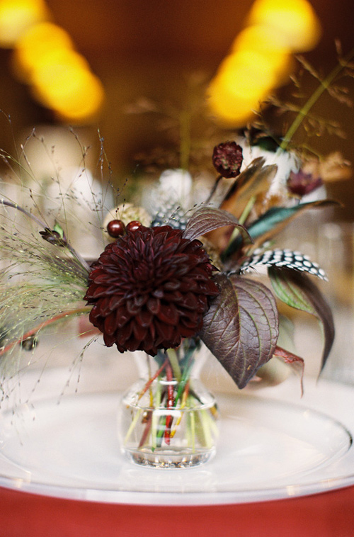 dark red dahlia centerpiece