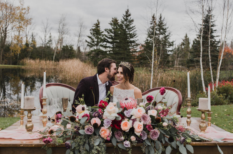 Image for Rustic Lakeside Wedding Inspiration with Blush and Vintage Details