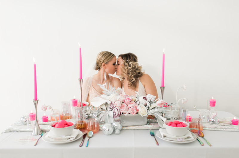 Image for Neon Pink and Silver Disco-Themed Wedding Inspiration
