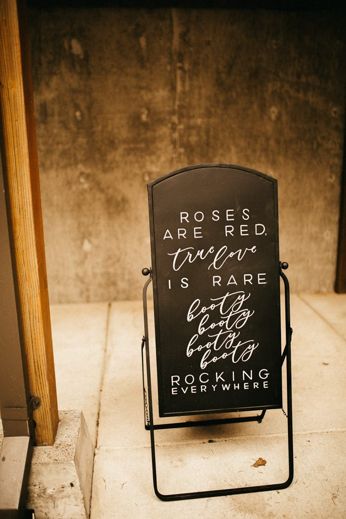 funny and clever wedding sign