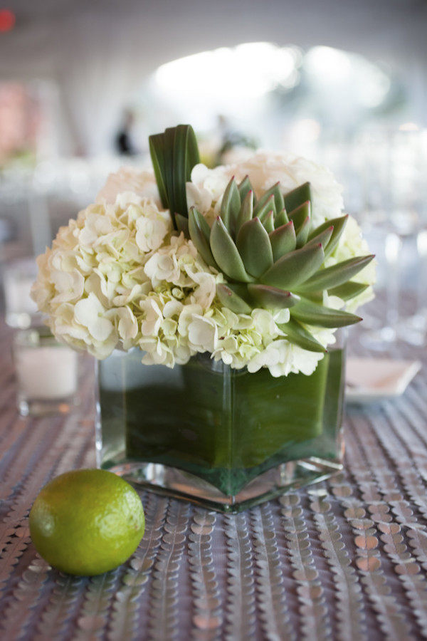 hydrangea and succulent centerpiece