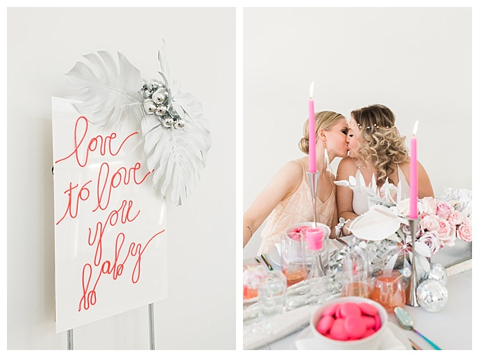 pink neon wedding sign