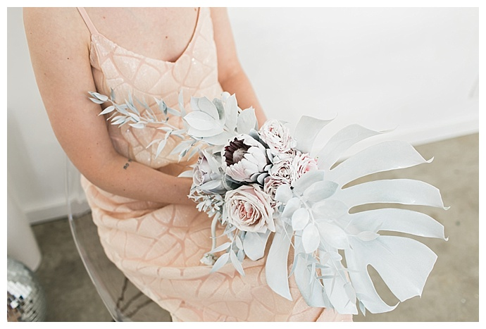 spray painted wedding bouquet
