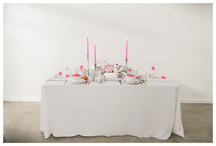 pink and silver table decor