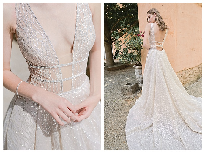 berta plunging neckline wedding dress