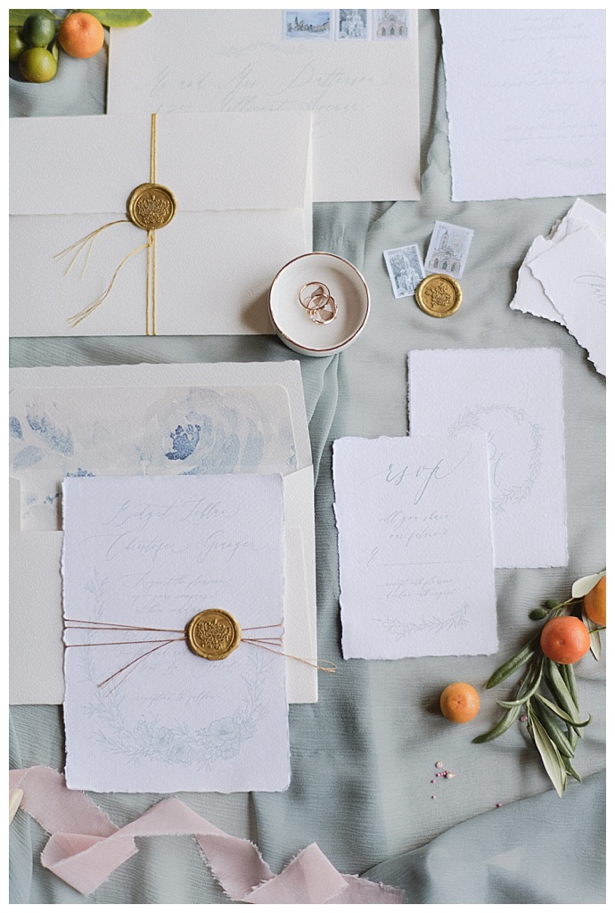 blue calligraphy invitation suite