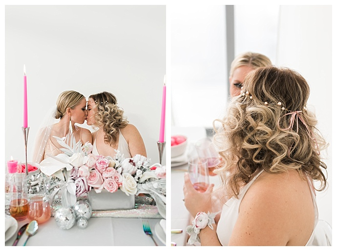 silver and pink wedding decor