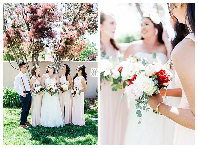 mismatched blush bridesmaids dresses