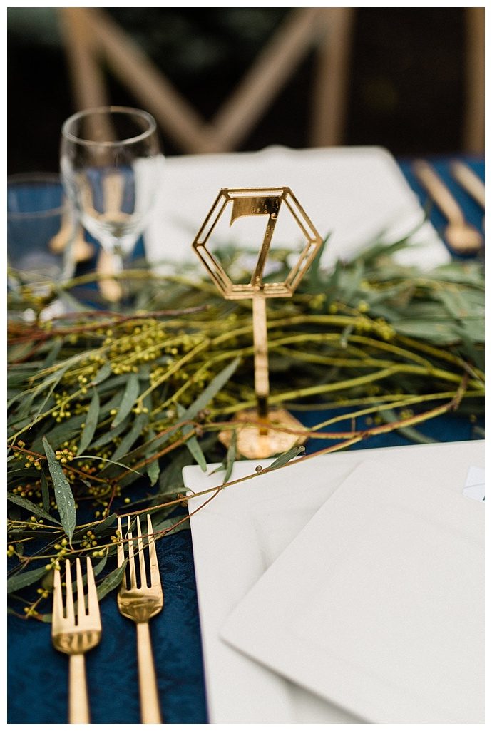 gold geometric wedding table numbers