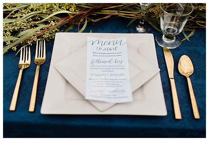 hand lettered wedding menu