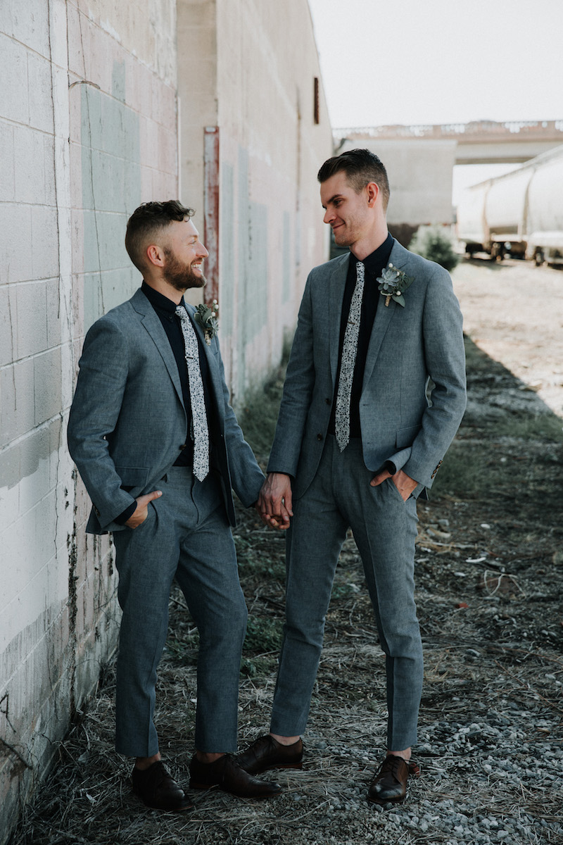 matching-gray-suits-with-floral-ties