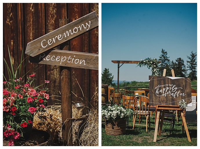 rustic ceremony signs