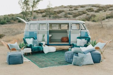 turquoise wedding lounge with vintage vw bus