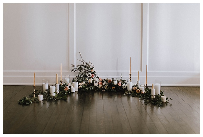 candle and garland ceremony decor