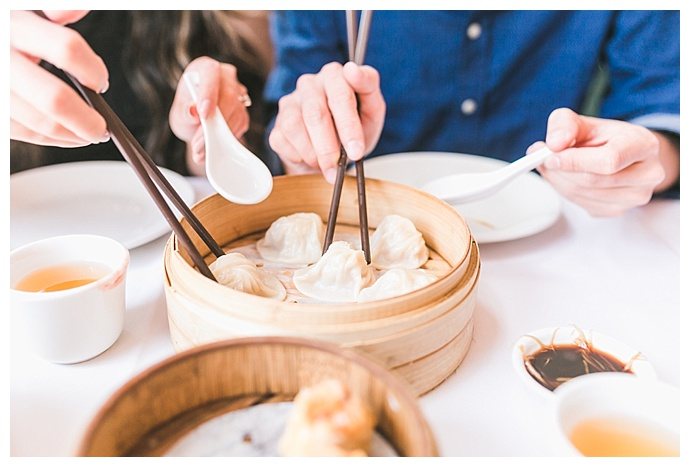 dim sum themed engagement shoot