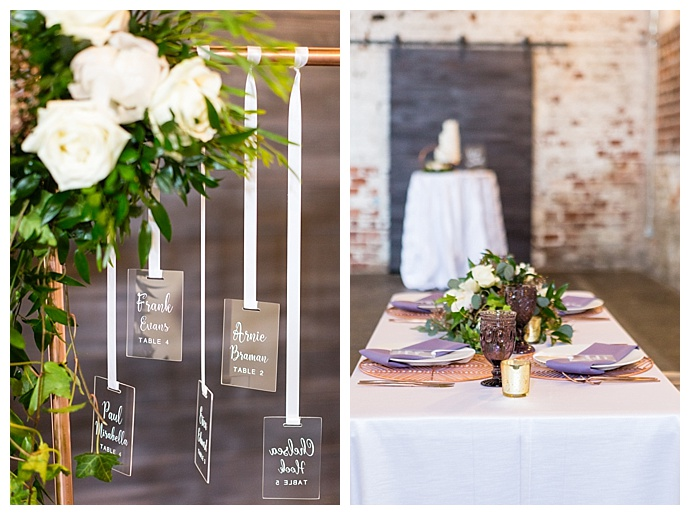 hanging place card display