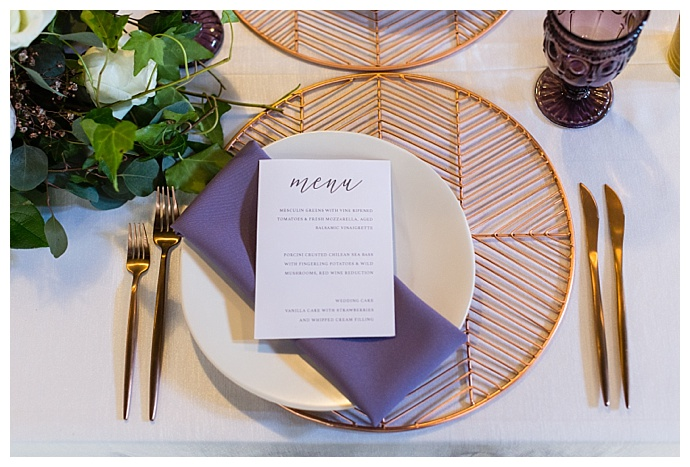 copper and purple wedding