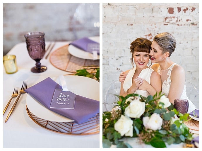 purple and copper wedding