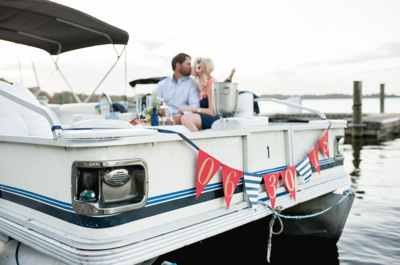 Image for Chelsea and Brett's Pontoon Boat Picnic Engagement Shoot