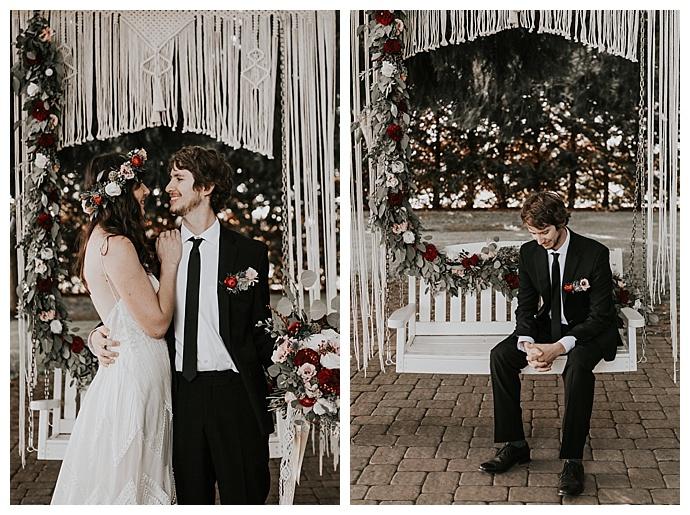 macrame wedding swing