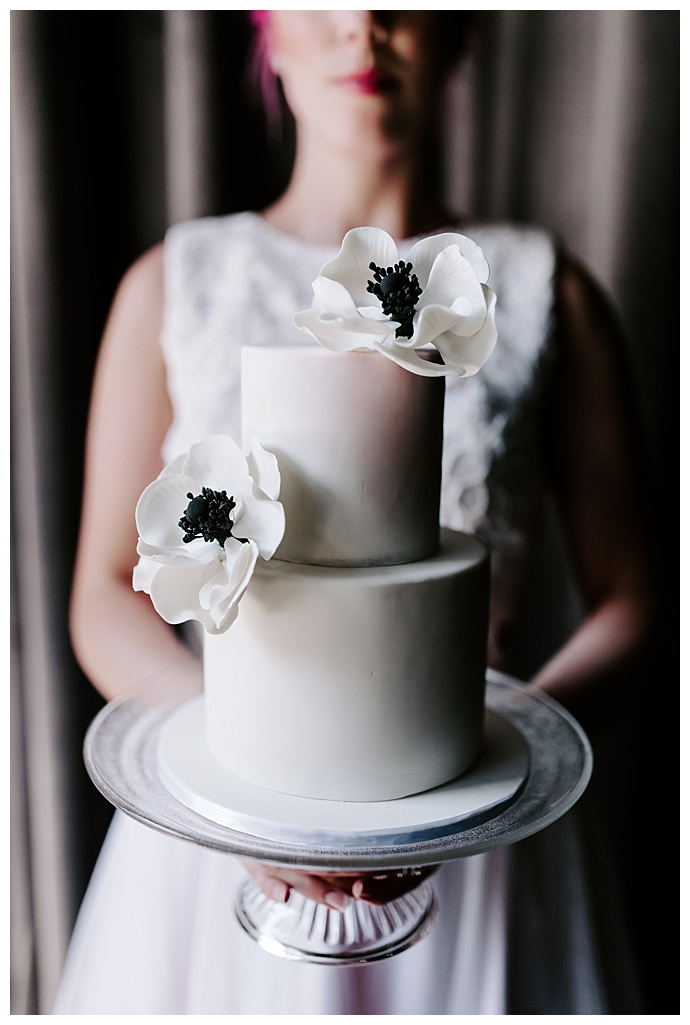 simple two tiered white wedding cak