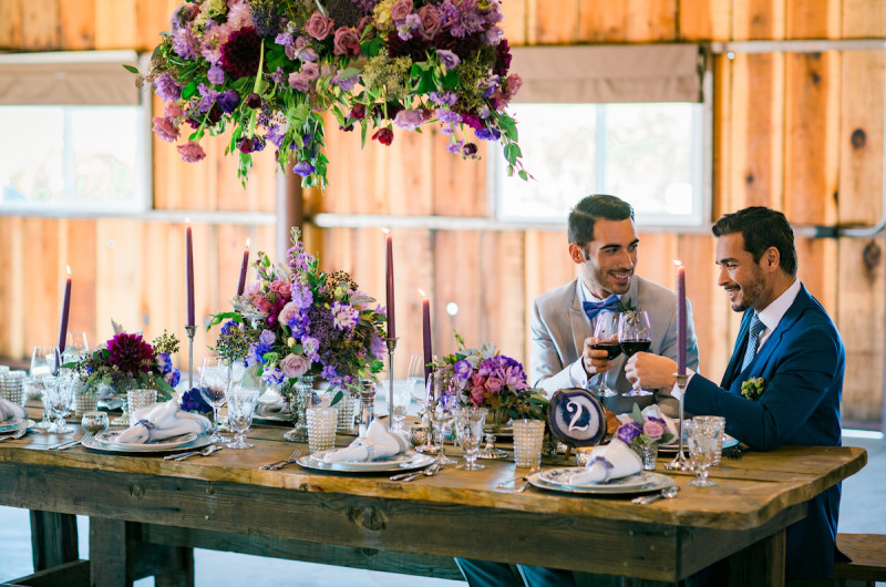 Image for A Purple and Blue Vintage Vineyard Wedding Inspiration Shoot