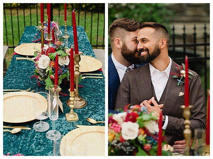 red and blue wedding table decor