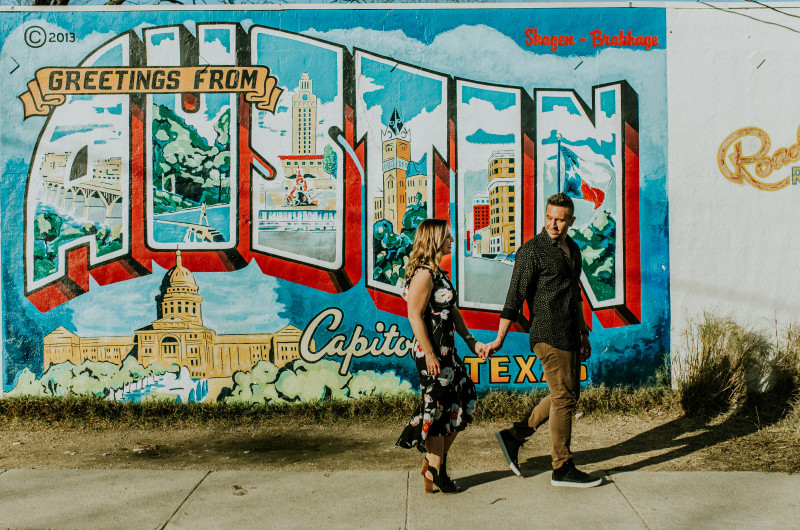 Image for Austin Engagement Shoot with Street Art and Ivy-Covered Walls