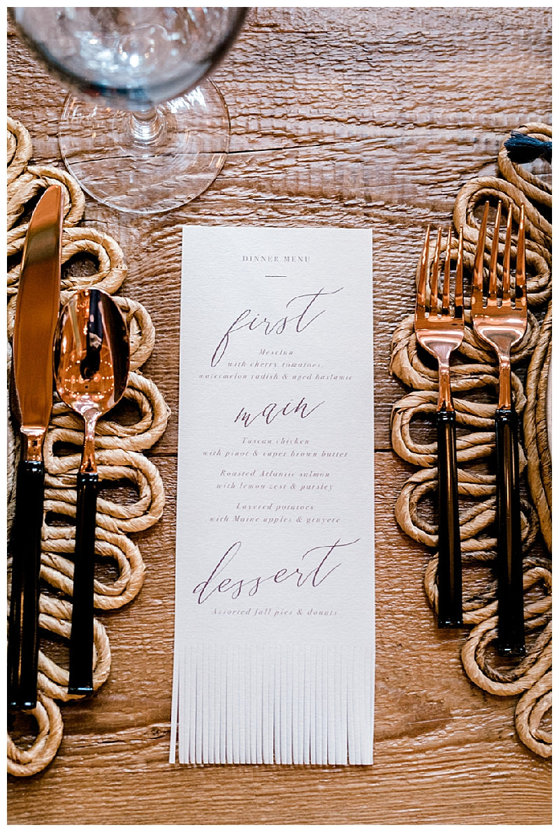 Fringed Wedding Menu