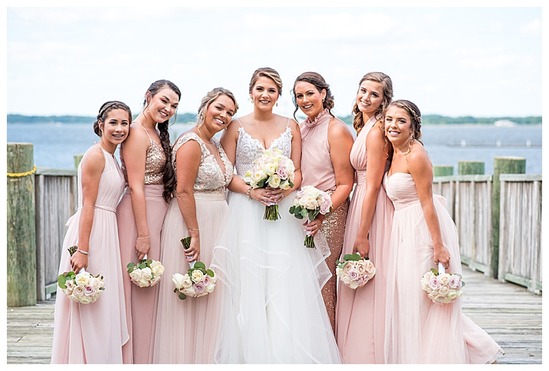 Mismatch Pink and Glitter Gold Bridesmaid Dresses