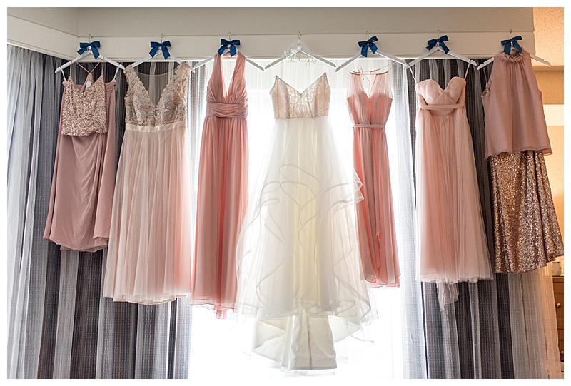 Pink and Gold Mismatch Bridesmaid Dresses