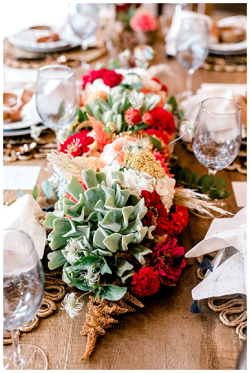 Red and Green Southwest-Inspired Floral Centerpieces