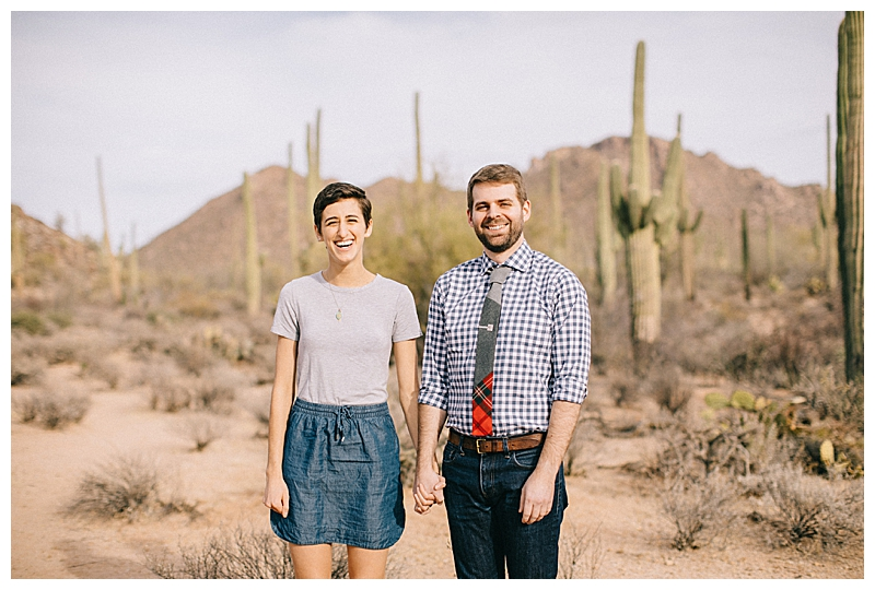 Desert Engagement Photos in a Cacti Park