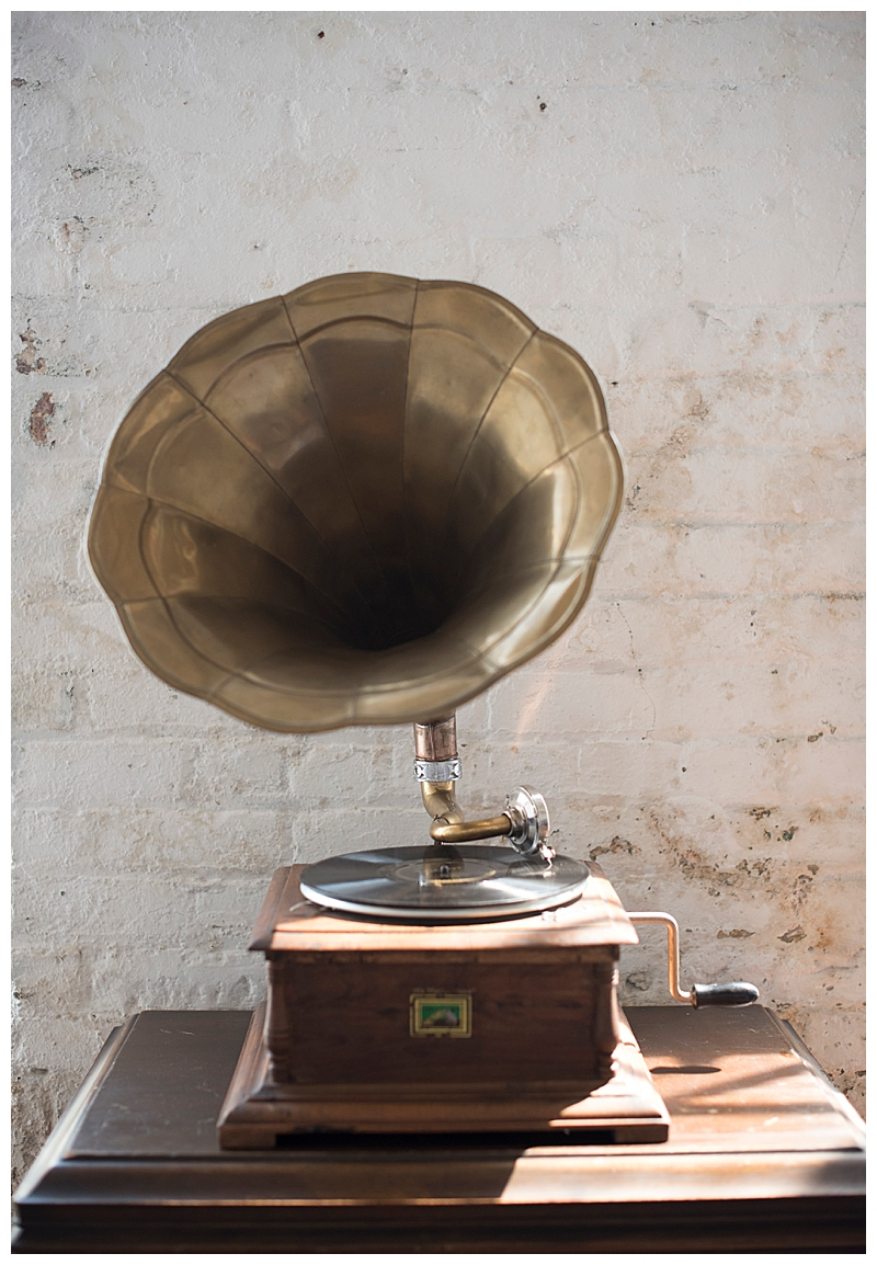 Vintage Record Player with Horn