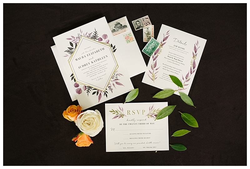 Wedding Invitation Suite with Purple and Green Florals