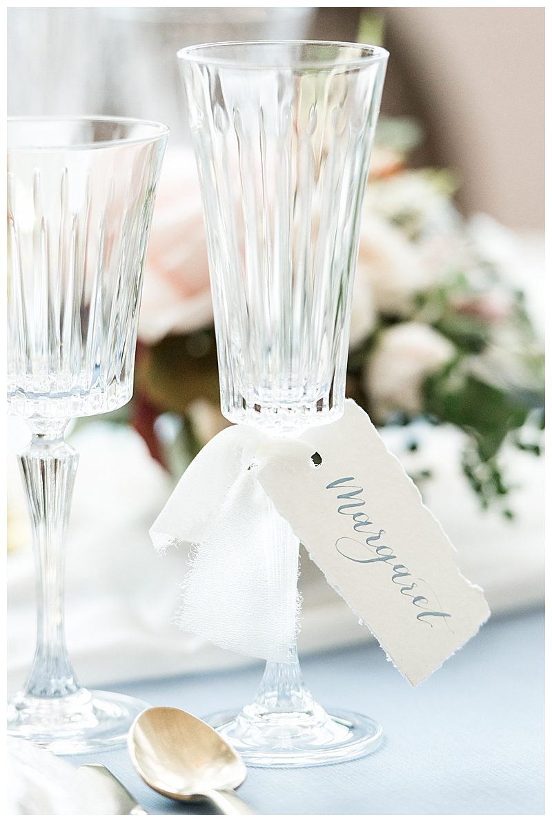 Calligraphy Place Cards on Glasses