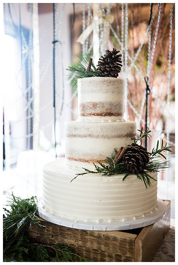 Dusted Naked Cake for Rustic Winter Wedding