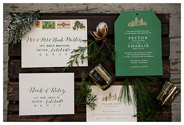 Green and White Winter Wedding Stationery